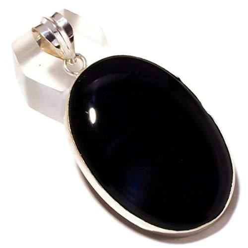 Jewels House Cabujón Negro Onyx Oval Piedra Preciosa Chapado en Plata Hecho a Mano Piedra Negro Colgante Grande