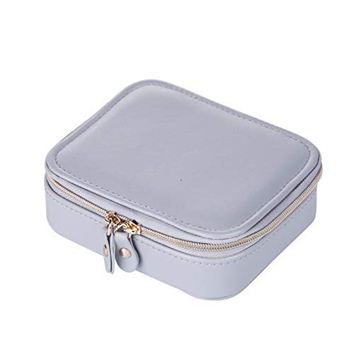 Elegant Portable Travel Small Jewelry Box Storage Box Velvet PU Leather Zipper Jewelry Box Red,Colour:Red (Color : Gray)