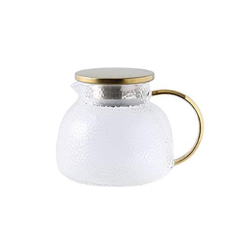 QAX Jarra de cristal con tapa y boquilla, jarra de agua de cristal con asa, para frigorífico familiar, hervidor de 1 l