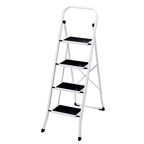 Delxo Folding 4 Step Ladder, 4.5-Feet Portable Metal Step Stool for Household & Office & Kitchen, With Convenient Handgrip & Anti-Slip Sturdy and Wide Pedal, 330lbs Capacity ( Steel, White and Black )