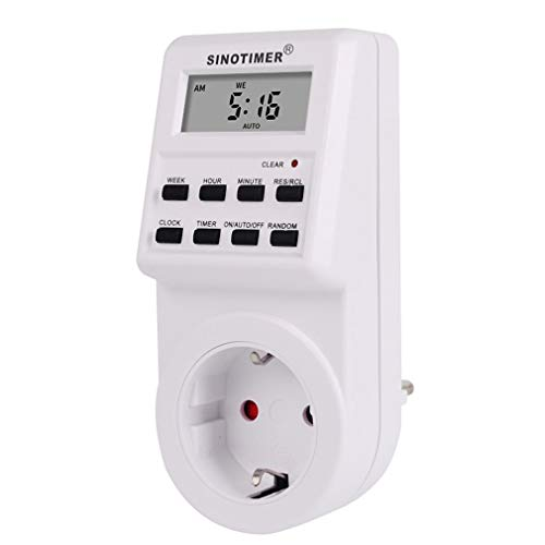 SINOTIMER Plug Digital Weekly Programmable Plug-in Stopcontact Tijdschakelaar Wit EU