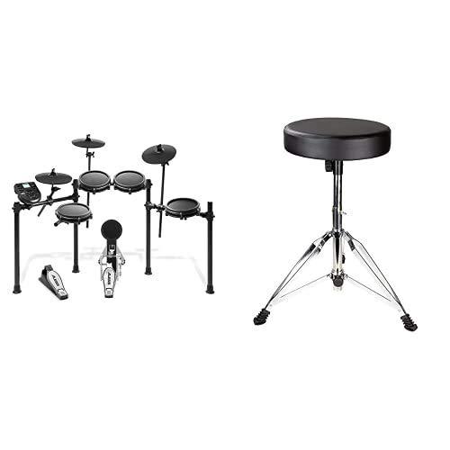 Alesis Nitro Mesh Kit – E Schlagzeug Elektronisch, achtteilig, aus Aluminium, mit Drumsticks, 385 integrierten Sounds & RockJam verstellbare Trommel Stuhltrommel Stuhl mit gepolstertem Sitz