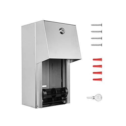 Pack of 6 - Dual Rolls Toilet Paper Dispenser - Lockable Design - 304 Grade Stainless Steel