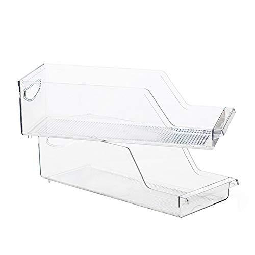 Organizador de latas de soda para refrigerador, caja de almacenamiento transparente, cesta de plástico con asa, 2 unidades