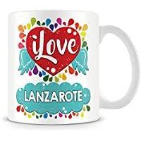 """Taza de café con texto """"I Love Lanzarote"""" personalizada, de cerámica, 11 onzas, color blanco"""