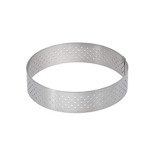 De Buyer 3099.09 Cercle à Tarte Perforé Rond Valrhona - Inox - Bord Droit - ht. 2 cm - Diamètre 24,5 cm