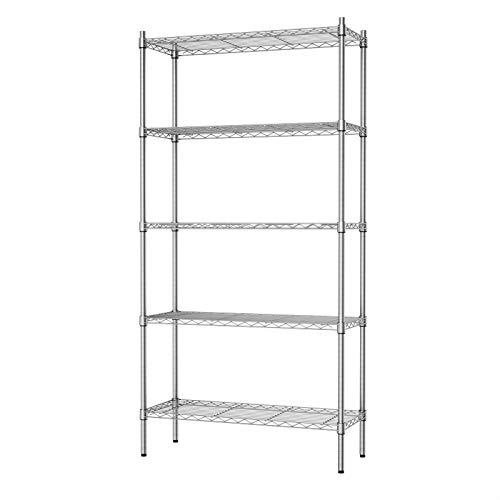 Auslar 5-Shelf Storage Shelves Heavy Duty 5 Tiers Standing Shelf Units Adjustable Wire Rack, Chrome