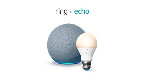 All-new Echo (4th Gen) - Twilight Blue - bundle with Ring A19 Smart LED Bulb, White