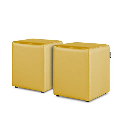 HAPPERS Pack 2 Puff Cubo Polipiel Indoor Mostaza