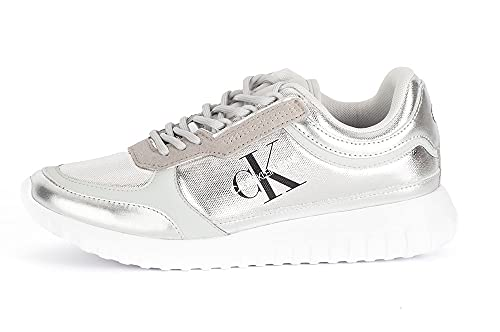 Calvin Klein Jeans Runner Lace Up Eva Womens Silver Mirror Trainers-UK 4 / EU 37