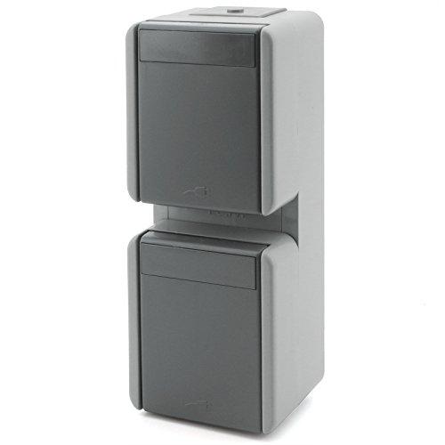 Feuchtraum Aufputz Schalter Steckklemmen Aufbau Außen Steckdose fach IP44 Grau (VER.STECKDOSE 2fach CF15GY)