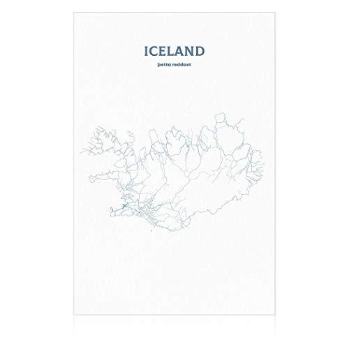 SpringFlower Muursticker IJsland Kaart Premium Art Print Decoratie Poster Ontwerp Moderne Mural Muur Aangepast Product voor Woonkamer, Slaapkamer, Kantoor Muur Art Zelfklevend Materiaal