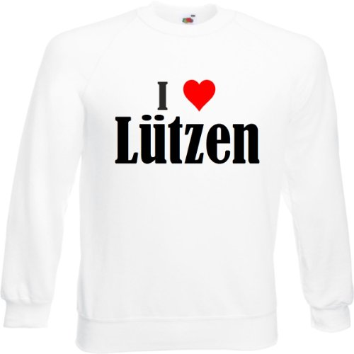 Reifen-Markt Sweatshirt I Love Lützen Größe 2XL Farbe Weiss Druck Schwarz