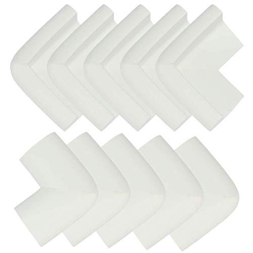 YeVhear - Lote de 10 unidades de espuma para muebles, mesa, escritorio, borde protector, almohadillas protectoras, cojines de esquina, protección 55 x 35 x 10 mm, color blanco