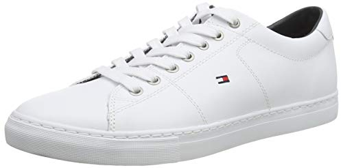 Tommy Hilfiger Essential Leather, Baskets Basses Homme,Blanc (White 100) , 43 EU