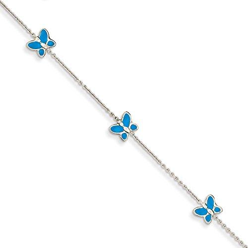 Diamond2Deal Tobillera de oro blanco de 14 quilates con mariposa esmaltada azul de 10 pulgadas para mujer