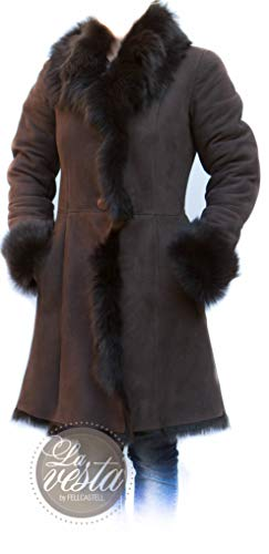 Abrigo de Piel de Cordero Toscana Cathérine 85 cm de Largo Talla 36 marrón Chocolate