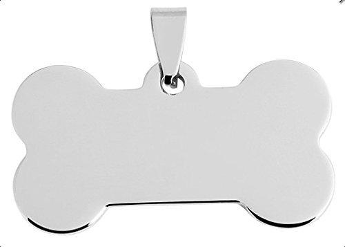 Brillibrum Design - Targhetta per cani a forma di osso, con incisione a scelta, in argento, piccolo ciondolo leggero in acciaio inox, targhetta per il nome (ciondolo con incisione fino a 15 caratteri)