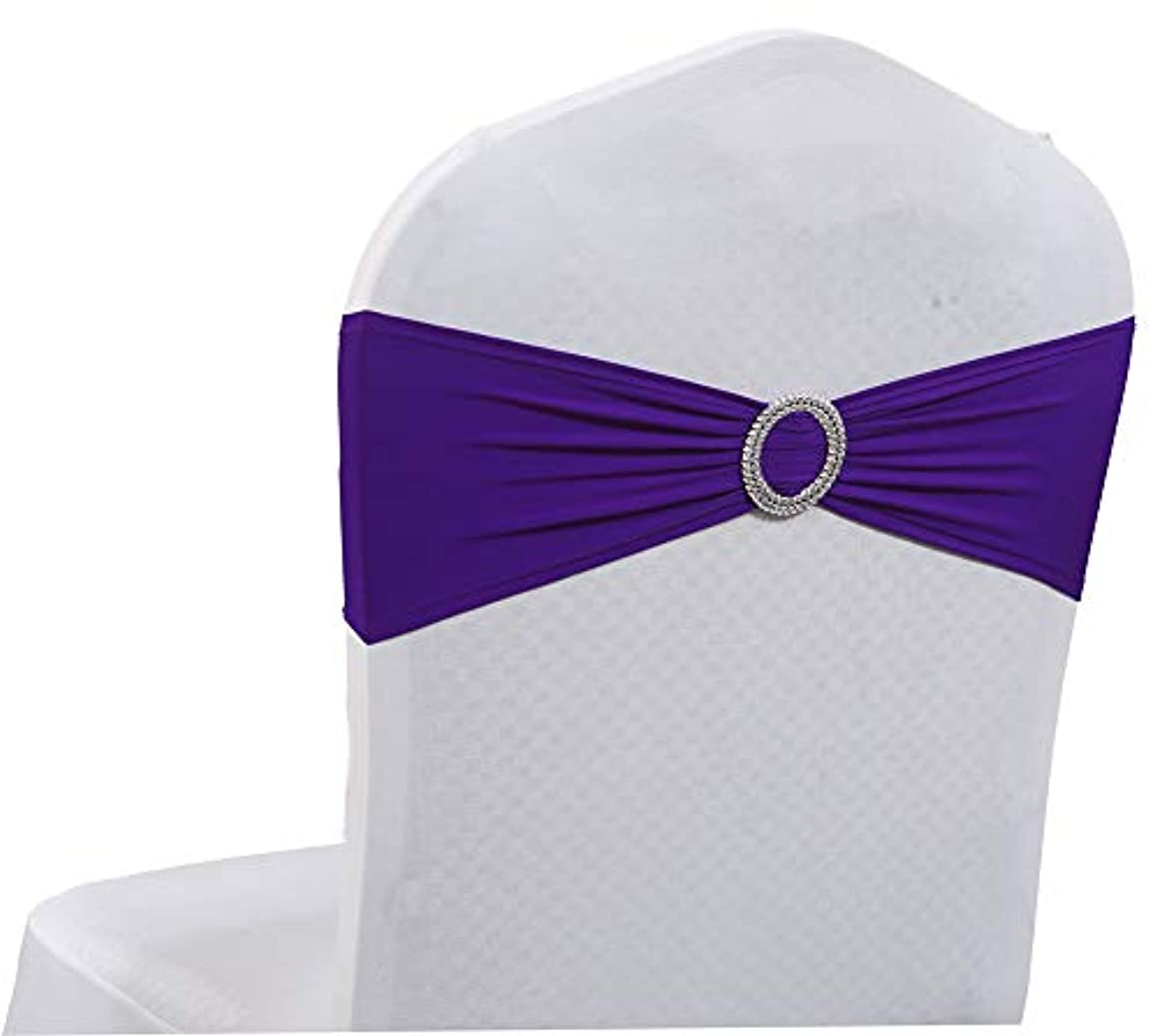 mds Pack of 25 Spandex Chair Sashes Bow sash Elastic Chair Bands Ties with Buckle for Wedding and Events Decoration Lycra Slider Sashes Bow - Cadbury Purple