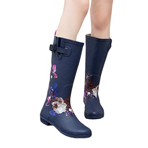 Padaleks Women's Snow Booties Knee Length Floral Printed Long Rain Boots Rubber Waterproof Yard Garden Shoes