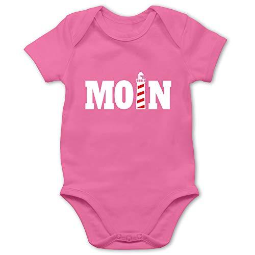 Sprüche Baby - Moin mit Leuchtturm - weiß - 6/12 Monate - Pink - Geschenk - BZ10 - Baby Body Kurzarm für Jungen und Mädchen