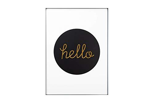 KunstLoft® Acryl 3D wanddecoratie 'Bonjour und Hello' 50x70cm Goud Zwart typografie