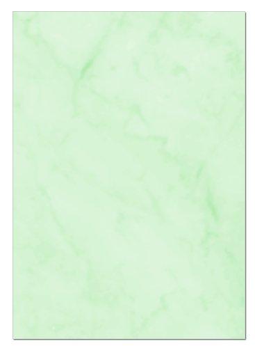Gastronomie Papier (Grün-Marmor, A5, 25 Blatt) für Speisekarten. Marmoriertes Papier, Einseitig bedruckt, für alle Drucker/Kopierer geeignet