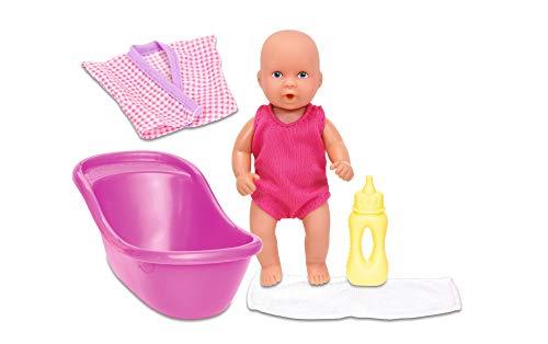Simba 105033218 - New Born Baby Set, Vollvinylpuppe mit Trink- und Nässfunktion, Bademantel, Handtuch, Flasche und Badewanne, 12cm, ab 3 Jahren