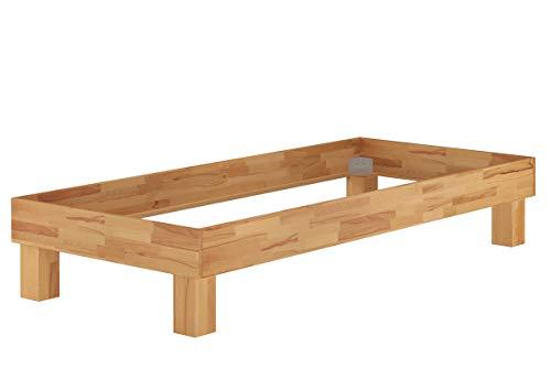 Erst-Holz® Holzbett Einzelbett 90x200 Buche Bettrahmen Futonbett mit wählbarem Zubehör V-60.87-09, Ausstattung:ohne Zubehör