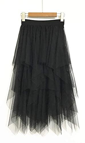 LBKKC Women's Tulle Skirt Formal High Low Asymmetrical Midi Tea-Length Elastic Waist Skirt Black