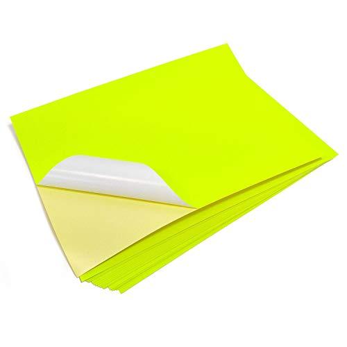 Evergreen Goods 10 A4 Blätter Neon fluoreszierend gelb Farbe Laser bedruckbar selbstklebend Sticker Craft Etiketten Silhouette Papier