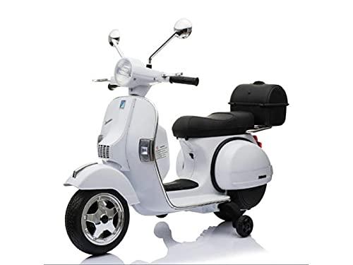 rollzone Vehículo infantil eléctrico Vespa 12V, asiento de piel, neumáticos de goma EVA, color blanco