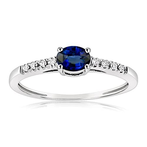 MILLE AMORI ∞ - Anillo de compromiso para mujer de oro zafiro natural y diamante ∞ oro blanco de 9 quilates 375 zafiro natural 0,30 quilates Diamantes 0,05 ct ∞ (54)