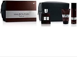 Mauboussin Pour Lui Cologne Gift Set for Men - Eau De Toilette 100ML + Shower Gel 100ML + Deodorant 150ML + Pouch