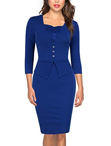 FORTRIC Women 3/4 Sleeves Lace V Neck Petite Junior Work Office Party Dress
