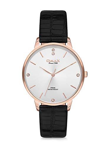 Omax Reloj de pulsera para mujer con índice, esfera de oro rosa y movimiento japonés PM003R62I