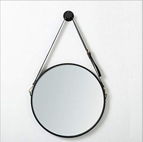 FXLYMR Mirror Wall-Mounted Decorative Hanging Mirror, Round Bathroom Makeup with Hanging Belt, Black Red Mounted Vanity Mirror,Wall-Mounted Bathroom Withbedroombathroom,Entrance,Red,Black,40Cm