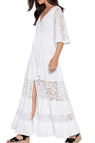 L-Peach Femme Blanc Longue Dentelle Floral Robe de Plage pour Maillot de Bain Cover ups