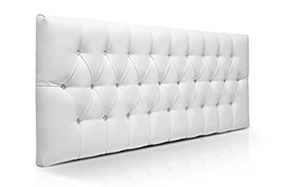 Cabeceros de cama con estructura de madera de pino Cabecero con gran acolchado tapizado en piel sintetica color Blanco Cabezales de madera, incluyen herrajes para anclar a la pared Cabecero de camas de 180 para dormitorio de matrimonio Disponible en ...