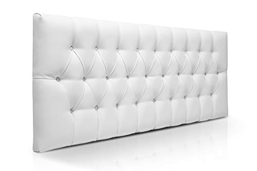 SUENOSZZZ-ESPECIALISTAS DEL DESCANSO Cabecero de Cama de 150 Modelo Copenhague, Color Blanco 160x57 | Cabezal Madera de Gran Acolchado con capitoné tapizado en Polipiel