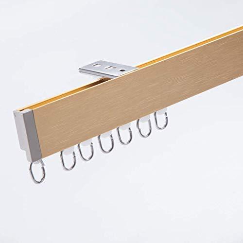 ZHTY Auf der Oberseite montierte Vorhangschiene, 1 m doppelte, Flache, gerade Schienenfläche aus Aluminium, ist leise und glatt und für Vorhangbrett- / Raumtrennwände geeignet
