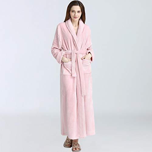 Pijamas Mujer Camisón Camisones para Mujer, Batas De Dormir, Albornoz, Pijamas De Otoño E Invierno, Franela Alargada Y Gruesa, Mujer, Mujer, Xl160-100.00Kg Lightpink