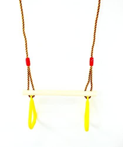 Gartenwelt Riegelsberger Trapèze multifonction avec anneaux en plastique jaune trapèze en bois dur à suspendre pour enfant