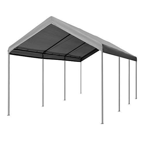 Outsunny 20' L x 10' W Heavy Duty Outdoor Carport Awning/Canopy with Weather-Fighting Material & Anchor Kit, Grey
