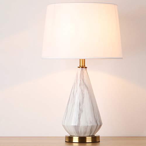 HELELELE tafellamp, LED bedlamp, E27, stoffen kap, bureaulamp, klassiek vintage design, voor slaapkamer (met lichtbron)