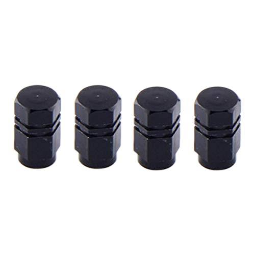 balikha 4 Piezas de Aleación de Cubierta de Polvo de Tapas de Válvula de Vástago de Neumático para Moto Scooter - Negro