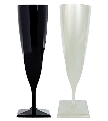 Flûtes à Champagne Plastique Noir et nacré x 4 - Taille Unique