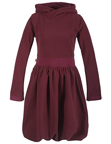 Vishes - Alternative Bekleidung - Warmes Langarm Ballonkleid aus recyceltem Fleece mit Kapuze dunkelrot 36