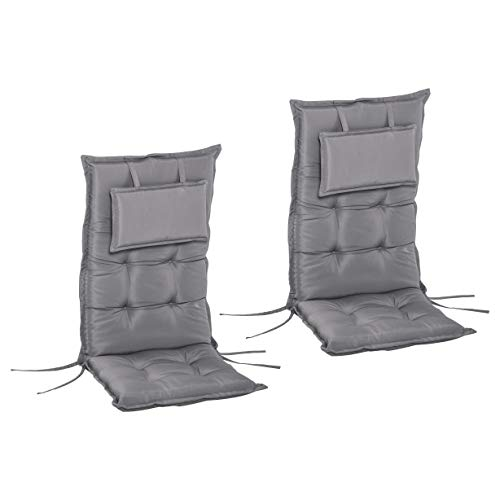Outsunny 2-TLG. Stuhlauflage Auflage für Gartenstuhl Sitzkissen mit Rückenlehne Hochlehner Polyester Dunkelgrau 120 x 50 x 9 cm