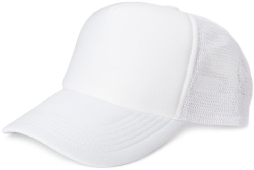styleBREAKER Gorra de Malla de 5 Paneles, Gorra de Camionero, Gorra de béisbol, Ajustable, Unisex 04023007, Color:Blanco